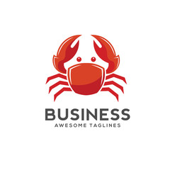 red Crab vector illustration logo style. Seafood Restaurant logo design.simple ocean crab logo vector