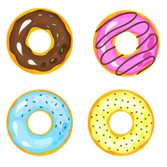 Sweets donuts sugar glazed. Vector fries pastry doughnut icons with holes isolated on white background. Dessert donut round illustration