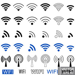 Wifi badges. Set. Towers. Signal. Icon. Simple flat style. For your design.