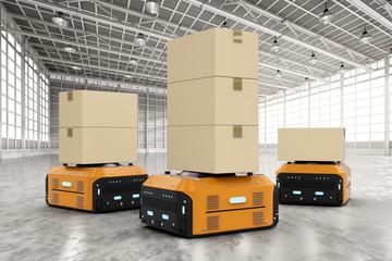 warehouse robots carry boxes