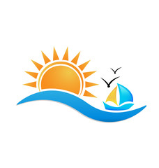 Boat sailing on the ocean during sunset, icon vector symbol
