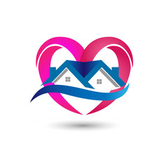 House heart real estate, icon vector