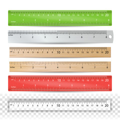 Color School Ruler Vector. Plastic, Wooden, Metal. Centimeters And Inches Scale. Stationery Ruler Tool. Isolated Illustration