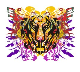 Grunge tiger head with colorful splashes. Closeup tiger head with colorful feathers and linear patterns