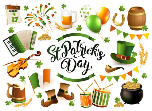 Happy Saint Patrick's Day traditional collection. Irish music, flags, beer mugs, clover, pub decoration, leprechaun green hat, pot of gold coins. Vector illustration isolated on white background