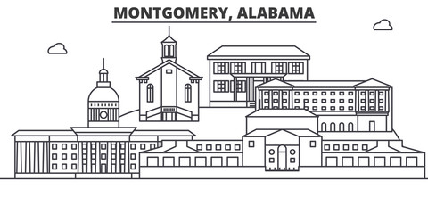 Alabama, Montgomery architecture line skyline illustration. Linear vector cityscape with famous landmarks, city sights, design icons. Editable strokes