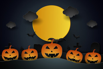 Halloween with pumpkin and graveyard in the moon , paper art style