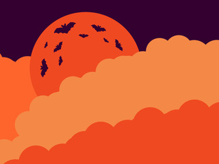 Halloween. Orange moon in the clouds of the bat. Vector illustration
