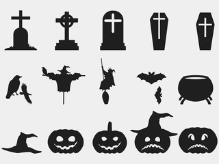 Halloween set of symbols. Witch hat, pumpkin with emotions. Isolated silhouettes of tombstones with crosses. Elements of the holiday design. Vector illustration