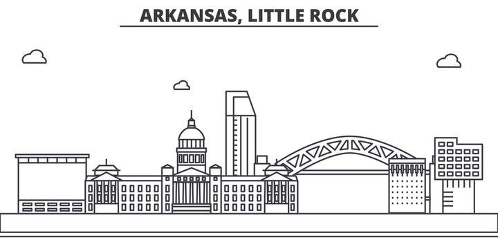 Arkansas, Little Rock architecture line skyline illustration. Linear vector cityscape with famous landmarks, city sights, design icons. Editable strokes