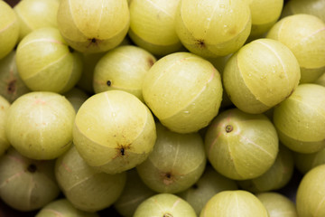 Indian fresh gooseberry or Amla or Avla in a bowl