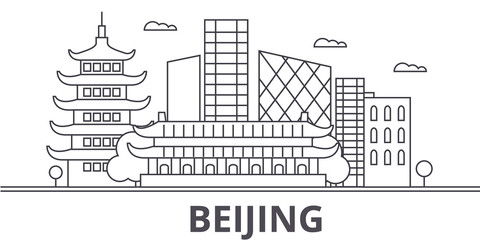 Beijing architecture line skyline illustration. Linear vector cityscape with famous landmarks, city sights, design icons. Editable strokes