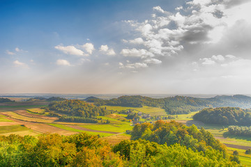View on the Wodaca Valley from castle Pilcza in Smolen (Poland)