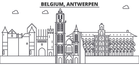 Poster Antwerpen Belgium, Antwerpen architecture line skyline illustration. Linear vector cityscape with famous landmarks, city sights, design icons. Editable strokes