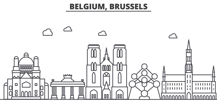 Belgium, Brussels architecture line skyline illustration. Linear vector cityscape with famous landmarks, city sights, design icons. Editable strokes