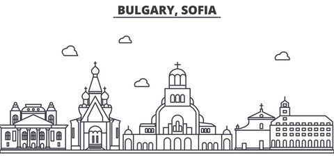 Bulgaria, Sofia architecture line skyline illustration. Linear vector cityscape with famous landmarks, city sights, design icons. Editable strokes