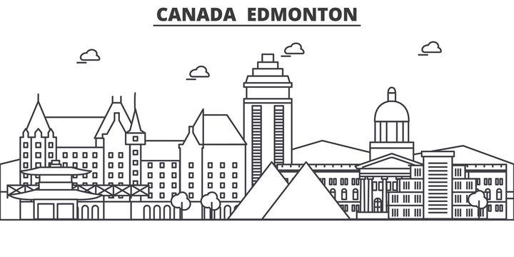 Canada, Edmonton architecture line skyline illustration. Linear vector cityscape with famous landmarks, city sights, design icons. Editable strokes