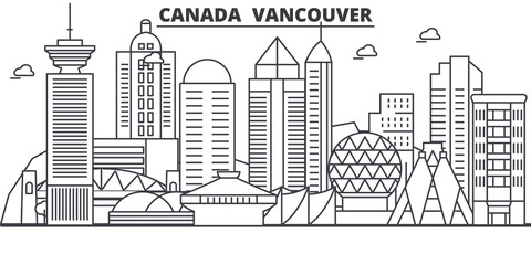 Canada, Vancouver architecture line skyline illustration. Linear vector cityscape with famous landmarks, city sights, design icons. Editable strokes Fotomurales