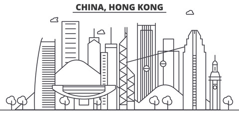 China, Hong Kong architecture line skyline illustration. Linear vector cityscape with famous landmarks, city sights, design icons. Editable strokes Fotomurales