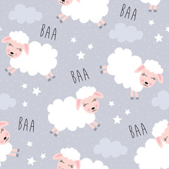 seamless sweet dreams sheep animal pattern vector illustration