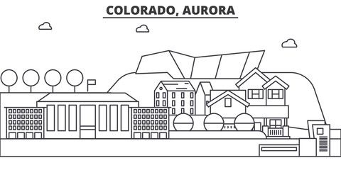 Colorado, Aurora architecture line skyline illustration. Linear vector cityscape with famous landmarks, city sights, design icons. Editable strokes