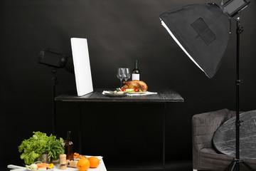Photo studio with professional lighting equipment for shooting food