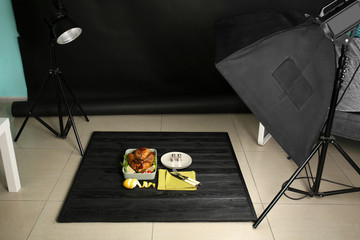Photo studio with professional lighting equipment for shooting food