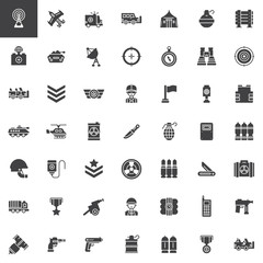 Military equipment vector icons set, modern solid symbol collection, filled pictogram pack. Signs, logo illustration. Set includes icons as tank, military truck, armored vehicles, artillery, guns