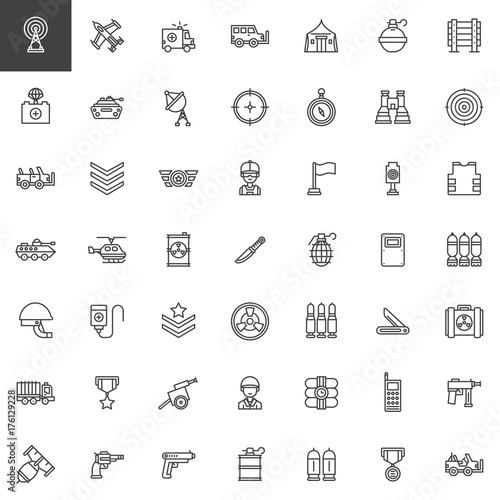 Military Equipment Line Icons Set Outline Vector Symbol Collection