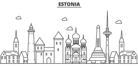 Estonia, Talinn architecture line skyline illustration. Linear vector cityscape with famous landmarks, city sights, design icons. Editable strokes