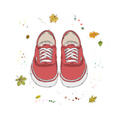 Red modern sneakers. Shoes on the background of autumn leaves and drops of watercolor. Hand drawn vector illustration on a white background.