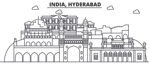 Hyderabad, India architecture line skyline illustration. Linear vector cityscape with famous landmarks, city sights, design icons. Editable strokes Fototapete