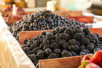 Fresh blackberries at market, closeup