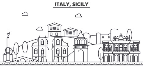 Italy, Sicily architecture line skyline illustration. Linear vector cityscape with famous landmarks, city sights, design icons. Editable strokes