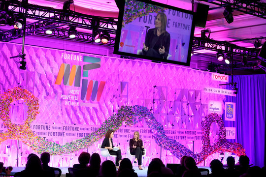 """Michal Lev-Ram and Mary Barra speak at the 2017 Fortune magazine's """"Most Powerful Women"""" summit in Washington"""