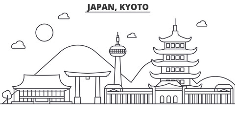 Japan, Kyoto architecture line skyline illustration. Linear vector cityscape with famous landmarks, city sights, design icons. Editable strokes