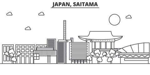 Japan, Saitama architecture line skyline illustration. Linear vector cityscape with famous landmarks, city sights, design icons. Editable strokes