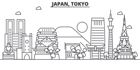 Japan, Tokyo architecture line skyline illustration. Linear vector cityscape with famous landmarks, city sights, design icons. Editable strokes