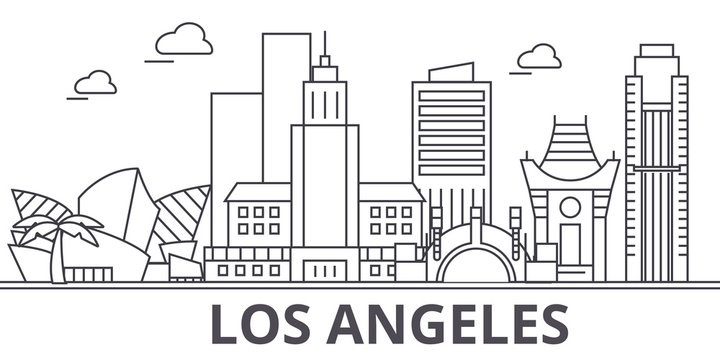 Los Angeles architecture line skyline illustration. Linear vector cityscape with famous landmarks, city sights, design icons. Editable strokes