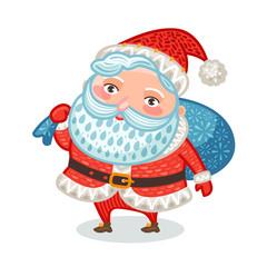 Cute Santa Claus with full bag of gifts. Christmas, xmas, new year symbol. Decorative vector illustration