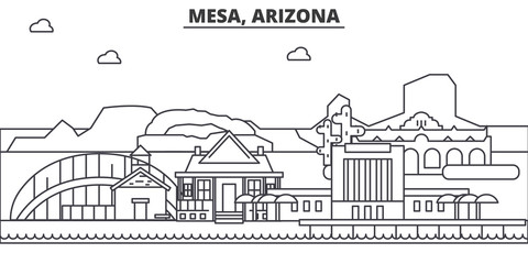 Mesa, Arizona architecture line skyline illustration. Linear vector cityscape with famous landmarks, city sights, design icons. Editable strokes