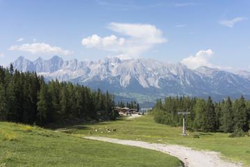 Alpine landscape with mountain Dachstein on Reiteralm, austria
