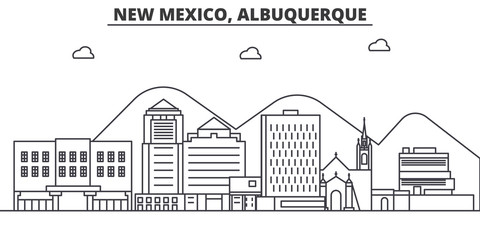 New Mexico Albuquerque architecture line skyline illustration. Linear vector cityscape with famous landmarks, city sights, design icons. Editable strokes