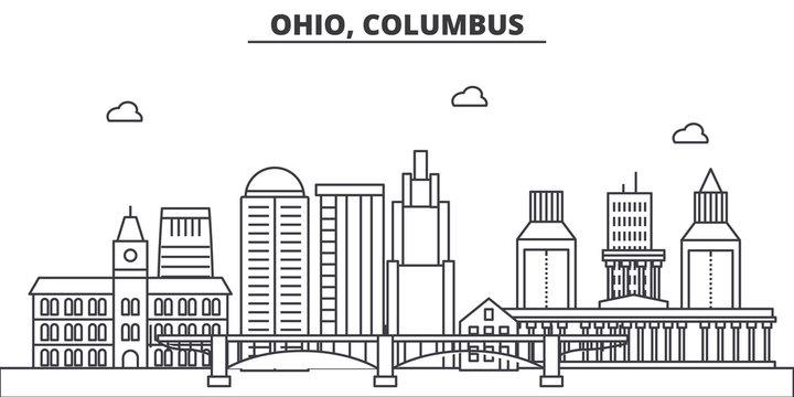 Ohio, Columbus architecture line skyline illustration. Linear vector cityscape with famous landmarks, city sights, design icons. Editable strokes