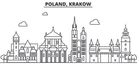 Poland, Krakow architecture line skyline illustration. Linear vector cityscape with famous landmarks, city sights, design icons. Editable strokes