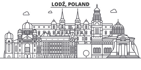 Poland, Lodz architecture line skyline illustration. Linear vector cityscape with famous landmarks, city sights, design icons. Editable strokes
