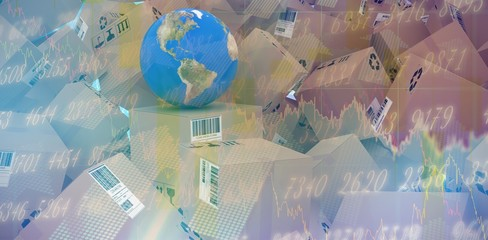 Composite image of globe amidst brown cardboard boxes