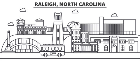 Raleigh, North Carolina architecture line skyline illustration. Linear vector cityscape with famous landmarks, city sights, design icons. Editable strokes