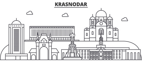 Russia, Kransodar architecture line skyline illustration. Linear vector cityscape with famous landmarks, city sights, design icons. Editable strokes