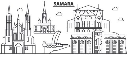 Russia, Samara architecture line skyline illustration. Linear vector cityscape with famous landmarks, city sights, design icons. Editable strokes